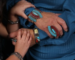Grandma and grandaughter hands with jewelry