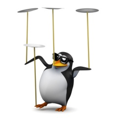 Penguins balancing act